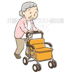 シルバーカーを使う高齢者のイラスト