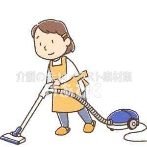 掃除機をかけるイラスト(背景なし)