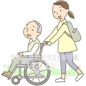 介護のイメージ(車椅子でお散歩)イラスト