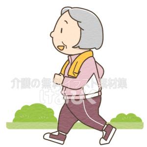 ウォーキングをする高齢女性のイラスト