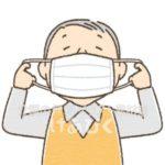 マスクをつける高齢者のイラスト
