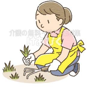 草むしりをしているイラスト