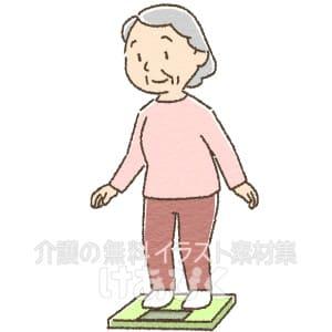 体重をはかる高齢者のイラスト