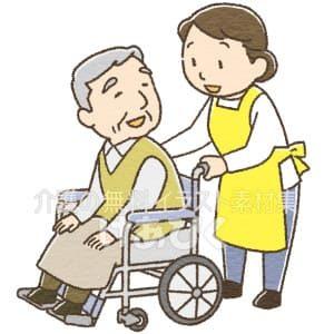 車椅子を押す介護士のイラスト
