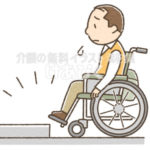 車椅子で段差を越えられないイラスト