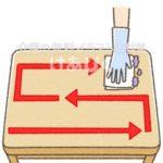 テーブルを一方向に拭くイラスト